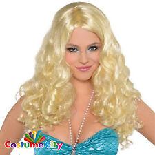 Adult Womens Blonde Sea Nymph Mermaid Wig Fancy Dress Costume Accessory