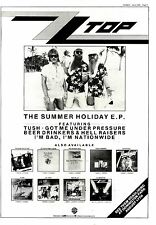 "SNDS6/7/85P11 ZZ TOP : THE SUMMER HOLIDAY E.P. ADVERT 15X11"" FRAMED"