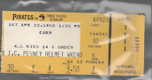 PITTSBURGH PIRATES vs Cubs 4/23/1988 Ticket Bobby Bonilla R.J. Reynolds HRs