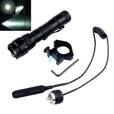 XM-L2 T6 LED 1000Lm Bulb Tactical Hunting Flashlight Torch W/ Switch & Mount