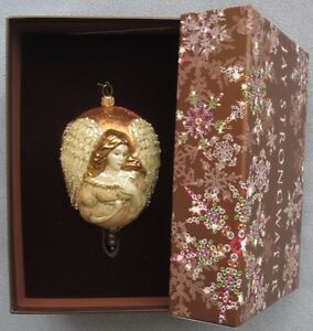 Jay Strongwater Golden Angel Oval Ornament Swarovski Elements New In Box