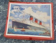 Vintage Victory Wooden Jigsaw / Jig-saw Puzzle - Queen Mary -1 piece missing