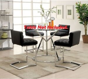 6pc Set Counter HT.Chairs Black Ribbed Tufted Faux Leather / Chrome Metal Legs