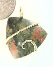 19.95ct Unakite Stone Freeform Cab in 14kt Gold Wire Wrap