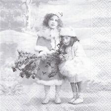 2 Serviettes en papier Fillettes Hiver Sagen Vintage Paper Napkins Winter Girls