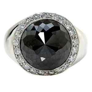 13 ct Round Brilliant Cut Black Onyx & White CZ 925 Silver Men's Fantastic Ring