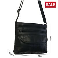 Ladies Black Leather Shoulder Bag Work Travel Soft Handbag Satchel Multi Zips