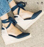 Soludos Tall Wedge Linen Espadrille Sandal - Women's Size 8.5 Blue