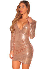 Champagne Ruched Sequin Long Sleeve Night club Dress