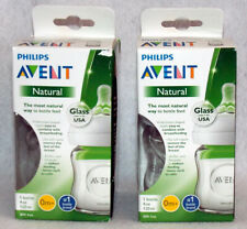 Philips Avent Natural Glass Bottle 4 Oz. 0M+ Lot Of 2 New Free Ship