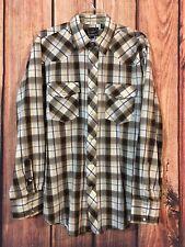 Roper Men's Western Shirt Pearl Snap Plaid Long Sleeve Sz Large White Brown Blue