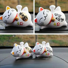 1pc Solar Powered Lucky Maneki Neko Waving Beckoning Fortune Cat Car Decor Gift