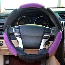 "Warm Suede Soft Memory Foam Car Steering Wheel Cover Rim 38cm 15"" Black Purple"