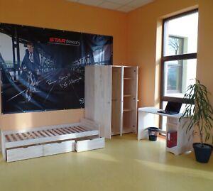 Kinderzimmer Jugendzimmer komplett Schrank 3 Türig Schreibtisch Bett  MASSIVHOLZ
