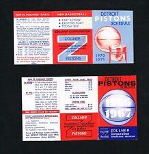 1966 – 1967 & 1970 – 1971 Detroit Piston Zollner NBA Basketball Pocket Schedules