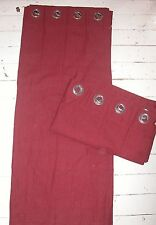 """PAIR OF VINTAGE HEAVY RED LINED COTTON RINGTOP DRAPES 88""""W x54"""" L- FREE UK POST"""