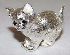 "Christofle Silver-plate, Lumiere D'Arge, 2"" Cat Playing Kitten Standing Figurine"