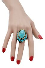 Women Bohemian Moroccna Style Fashion Jewelry Ring Turquoise Blue Beads Size 8