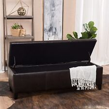 Contemporary Brown Leather Storage Ottoman Bench