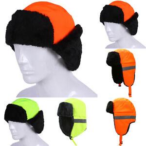 Hi Viz High Vis Safety Work Visibility Comfy Warm Earflags Reflective Hats Caps
