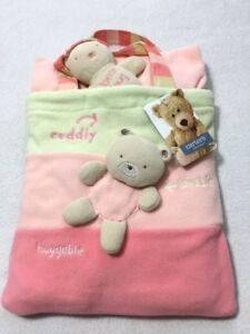 NWT Carters Classics Fleece Flower Blanket Bag Plush Teddy Bear Pink Stripe