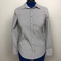 J Crew Women's Size Small Perfect Black White Stripe Button Down Shirt NWT