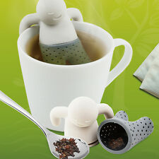 1X Cute Mr Tea Infuser Diffuser Leaf Silicone Strainer Herbal Spice Loose Filter