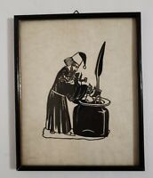 "Antique Cut Paper Silhouettes Wizard Making Magic Creatures 12.5"" W x 10"" H"