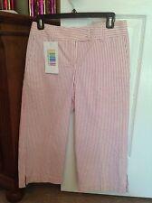 Real Original Color Women Capri Pant Pink & White Striped Sear Sucker Lined 4