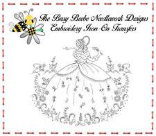 Crinoline Ladies Lady Garden Gal Belle Embroidery Iron-On Transfer #12