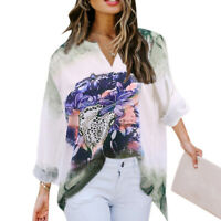 Women T Shirt Fashion Ladies Long-Sleeved V-neck Printed Tops Casual Loose Shirt