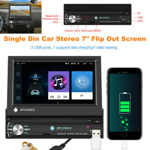 """7"""" HD Retractable Screen Single Din Car Stereo Android GPS Navigation Bluetooth"""