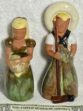 Frankoma #701/702 Gardener Boy/Girl Set Mostly Green on Red Clay Overalls Boy QQ