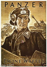 German WW2  Panzer tank commander large poster print