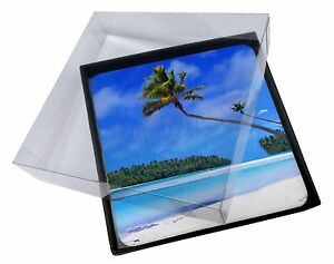 4x Tropical Paradise Beach Picture Table Coasters Set in Gift Box, W-6C