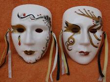 Vintage Mardi Gras Porcelain Face Masks Wall Hanging