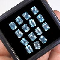 15 Pcs VVS Natural Blue Topaz 8mm/6mm Emerald Checker Cut Deluxe Loose Gems