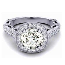 Moissanite Diamond Engagement Ring 925 Silver 2.05 Ct Vvs1=.Round Cut Near White