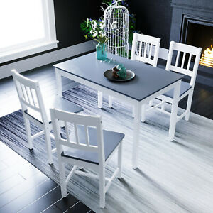 Dining Table and 4 Chairs Set 4 Seat Quality Wooden Choice Dining Room Grey