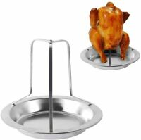 Stainless Steel Chicken Roaster Rack Beer Can Stand with Pan for Grill Oven BBQ