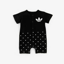 New Baby Girl Boy Short Sleeve Romper Bodysuit Jumpsuit Clothes Black 0-3 Months