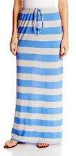Modest Skirt Long Maxi Striped C&C California Jersey Size S Oatmeal & Blue NWT