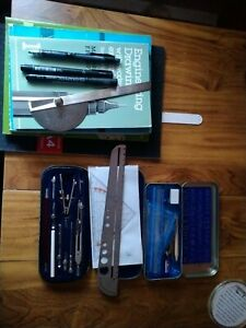 Mixed Lot Of Technical Drawing Instruments & Text Books