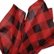 Red and Black Buffalo Plaid Tissue Paper # 415 - 10 Large Sheets