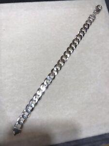"""925 REAL Sterling Silver Men CURB Bracelet 8"""""""