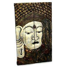 Buddha Wandbild groß - 100 x 60 cm - Holz Relief Budha Bild Bali - silber / gold