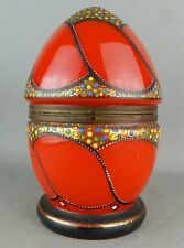Czechoslovakian Enamel Bohemian Red Glass Egg Box
