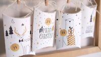 Adventskalender Kissenschachteln weiß Eisbär Elch Merry Christmas 24mm Aufkleber