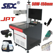 50W JPT Vertical Fiber Laser Marking Machine with Table and Computer,150mm Len