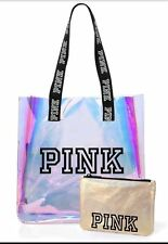 NIP Victoria's Secret PINK Clear Iridescent Logo Tote Bag + Gold Pouch BEACH BAG